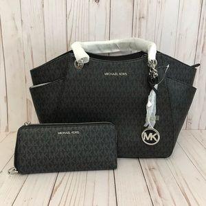 MK Signature Chain Shoulder Bag & Wallet Set